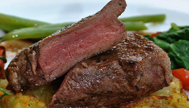 Rare, Smoky Venison Steak on Rosti